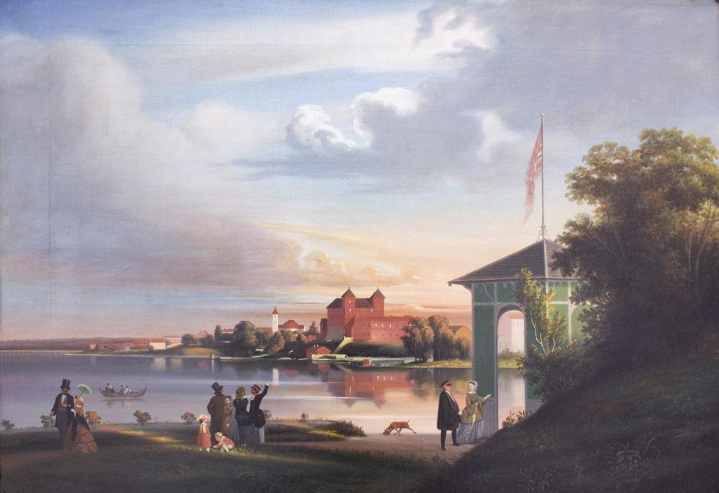 Johan Knutsonin maisemamaalaus Hämeen linnasta 1850-luvulta.