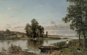 Hjalmar Munsterhjelmin kesäinen maalaus hämäläisestä järvimaisemasta, jossa veneen äärellä mies nostamassa kalastusverkkoja veneestään.