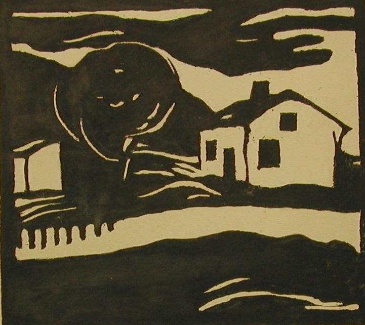 Kalle Carlstedtin mustavalkoinen grafiikan vedos pihamaasta, jossa mökki ja puu