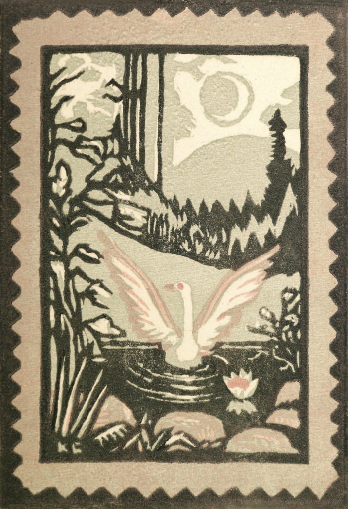 Onnen lintu III, 1936-1942, väripuupiirros, 14,5 x 10 cm, Hämeenlinnan taidemuseo. Kuva: Hämeenlinnan taidemuseo, Reima Määttänen