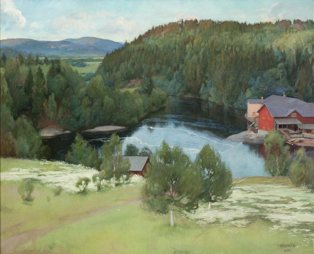 Pekka Halonen; Myllykylän saha; Sortavalan pitäjä; 1899, Gösta Serlachiuksen taidesäätiö, Serlachius museot, Mänttä. Kuva: Vesa Aaltonen.