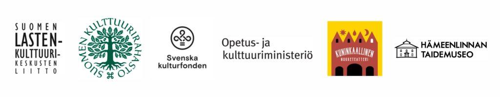 logot: Suomen lastenkulttuurinkeskusten liitto, Suomen Kulttuurirahasto, Svenska Kulturfonden, Opetus- ja kulttuuriministeriö, Kuninkaallinen nukketeatteri, Hämeenlinnan taidemuseo